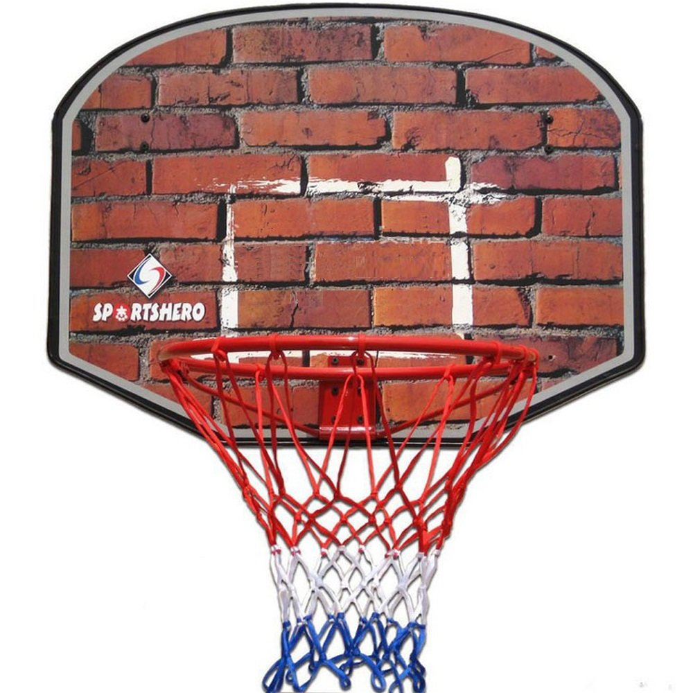 18'' Professional Wall Mounted Indoor Basketball Hoop Ring and Backboard including Net (Brick Wall) Sport Hero