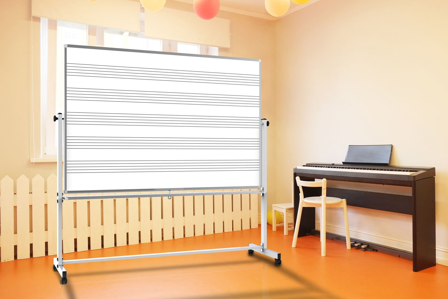 Offex 72'' x 48 '' Double Sided Mobile Staff Printed Music Whiteboard by Offex (Image #3)