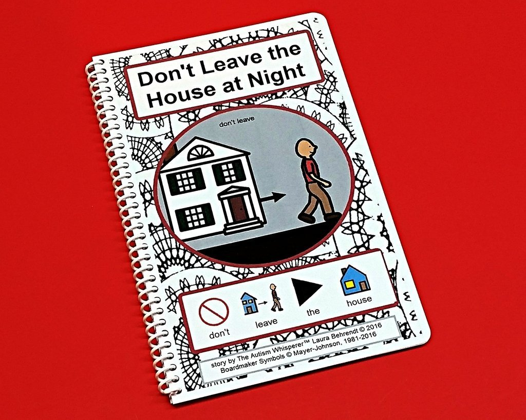 Don't Leave the House at Night - PECS Social Story with Sentence Strips - Autism Visual Aid