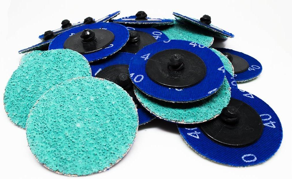 25 Pack 2 Roloc Green Zirconia with Grinding Aid Quick Change Sanding Discs 80 Grit
