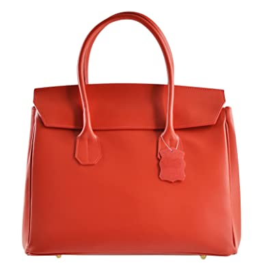 CTM Womans Tote Bag in genuine soft leather made in Italy - 33x35x15 Cm Chicca Tutto Moda KaBrLw