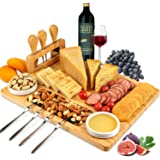 ROYAMY Bamboo Cheese Board Set with 3 Stainless Steel Knife, Meat Charcuterie Platter Serving Tray, Perfect Choice for Weddin