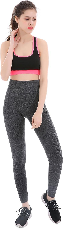 Maks Girls Junior Womens Heathered High Waist Ribbed Knit Virtually Seamless Tights Yoga Pants Leggings