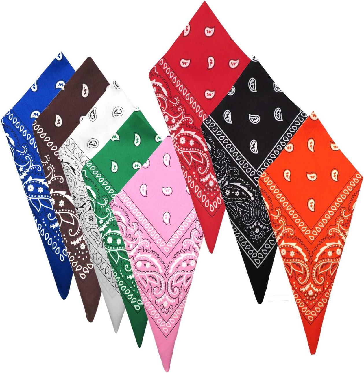 ni/ños corbata pa/ñuelos bufanda diademas hombres mujeres CKANDAY 8 piezas cl/ásicas pa/ñuelos de vaquero multiusos con estampado para la cabeza mu/ñequera para adultos