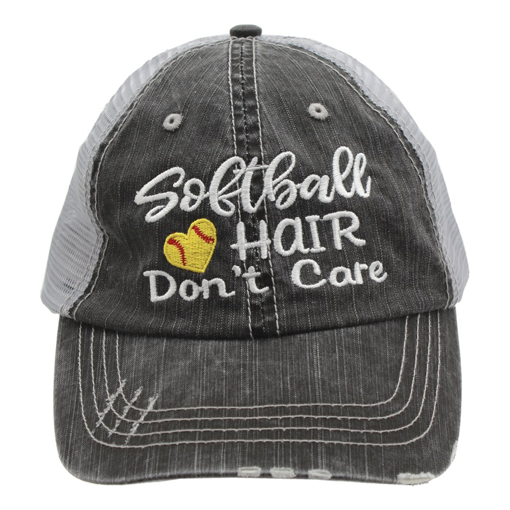 Softball Hair Don't Care Love Heart Women Embroidered Trucker Style Cap Hat
