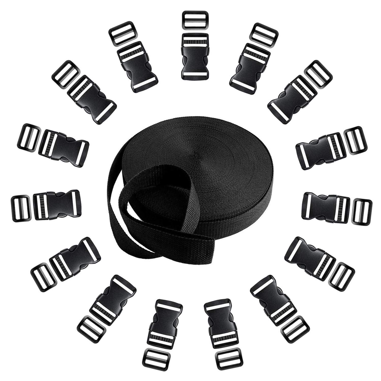 Langtor 15 Set Side Release Kunststoffschnallen mit 1 Rolle 10 Yards Nylon Gurtband Riemen f/ür DIY Making Gep/äckband Rucksack reparieren Haustier Kragen