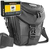 KIT mit PATONA Akku für CANON LP-E10 + MANTONA Colttasche Colt Kameratasche schwarz für CANON EOS 1100D 1200D 1300D
