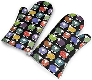 Colorful Sheeps Kitchen Oven Mitts, Cotton Long Microwave Oven Gloves, Extreme Heat Resistant 572 Degrees Nonslip Gloves for Potholders Cooking, BBQ, Frying, Baking (1 Pair)