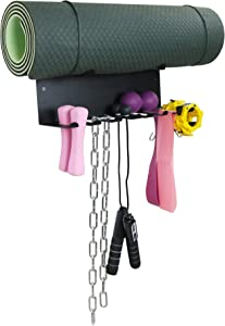 Alvade Gym Storage Rack,Double Layer Multi-Purpose Exercise Bands Rack,Resistance Bands Rack with 10 Hooks for Lifting Belt and Jump Rope Storage, Yoga Mat and Foam Roller Holder (Hardware Included)
