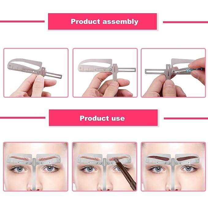 ELEVEN EVER Eyebrow Stencil Ruler Kit - Plantilla de cejas estilo europeo permanente herramientas de maquillaje: Amazon.es: Belleza