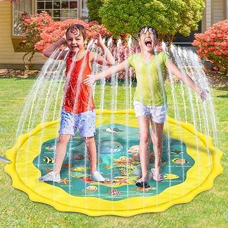 TXDY Splash Pad, Juego De Salpicaduras Y Salpicaduras, Aspersor De Juego, Alfombra Inflable De Juego De Agua De Playa/Césped Jardín para Niños,Yellow: Amazon.es: Hogar