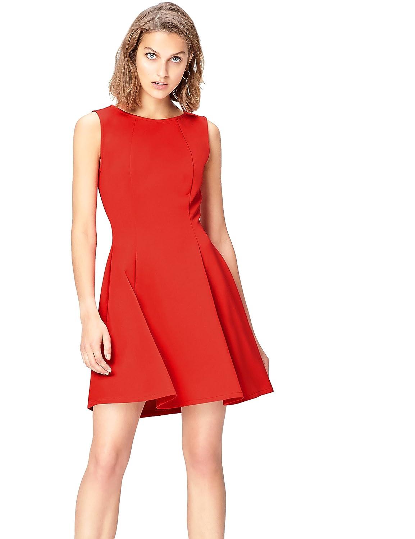 TALLA 42 (Talla del Fabricante: Large). Marca Amazon - find. Pantalón Casual de Pierna Ancha para Mujer Rojo (Red) 42 (Talla del fabricante: Large)