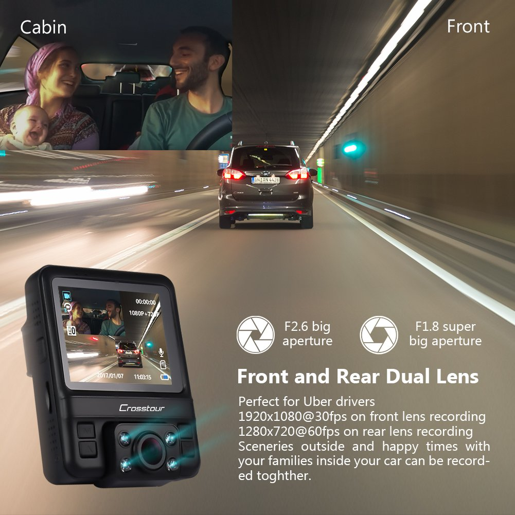 Uber Dual Lens Dash Cam Built-in GPS in Car Dashboard Camera Crosstour 1080P Front and 720P Inside with Parking Monitoring, Infrared Night Vision, Motion Detection, G-Sensor and WDR by Crosstour (Image #3)