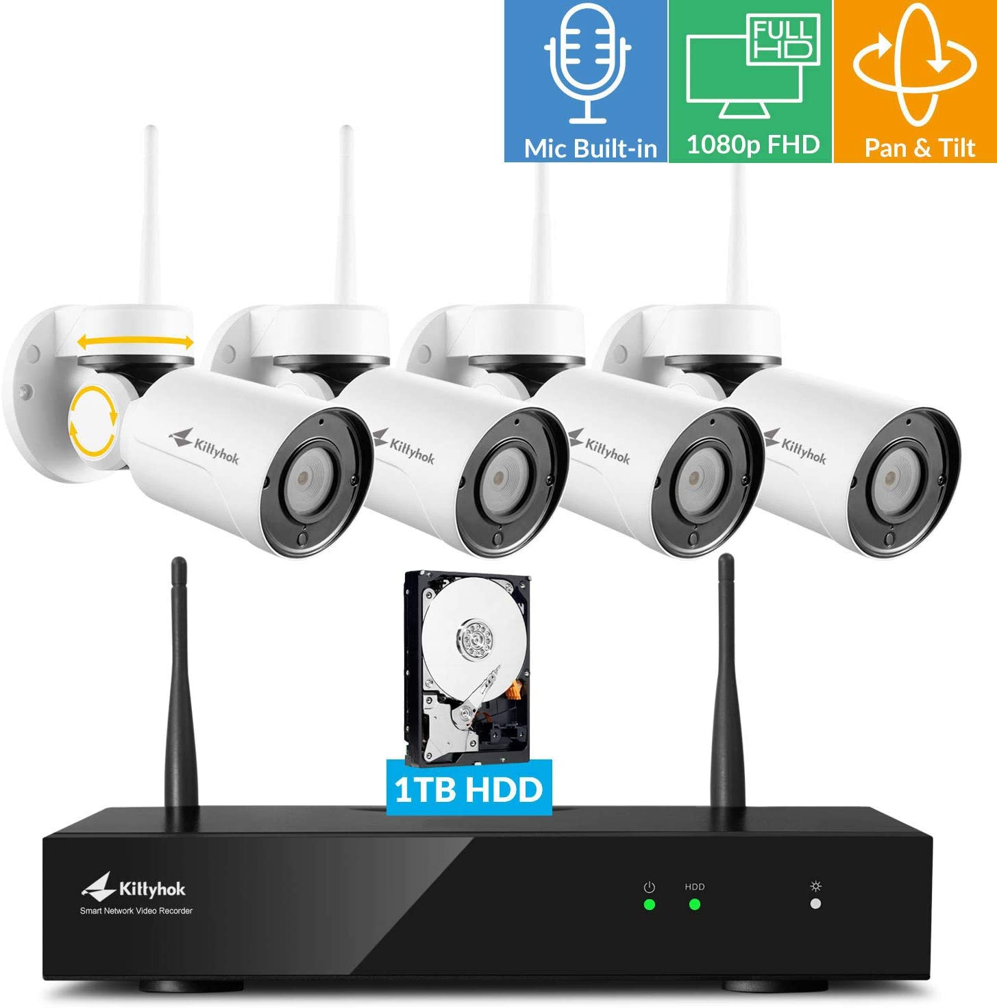 Kittyhok 8CH Home Wireless Security Camera System with Audio, 4pcs 1080p FHD PTZ WiFi Cameras Outdoor Indoor, 100ft Night Visioin, Weatherproof, Motion Detection, Remote View Control, 1TB HDD