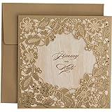 PONATIA Lot de 25cartes d'invitation avec motif floral découpé au laser - Pour mariage, fiançailles, anniversaire, fête, naissance, remise de diplôme, etc
