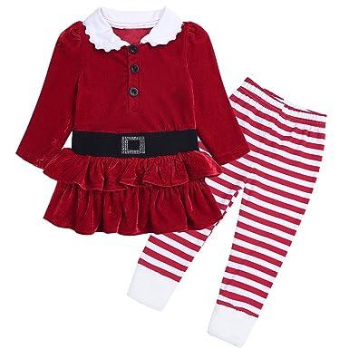 5fd8d5017c6b0 YiZYiF Enfant Bébé Fille Costume Noël Tutu Robe Soirée Anniversaire Pull  Haut et Pantalon à Rayure