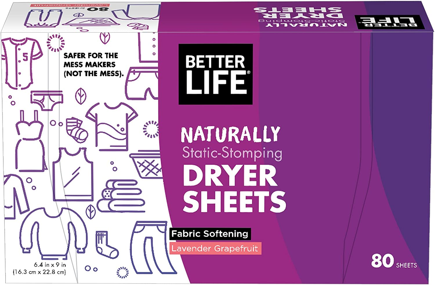 Better Life Dryer Sheets, Lavender Grapefruit, 80 Count, 2422