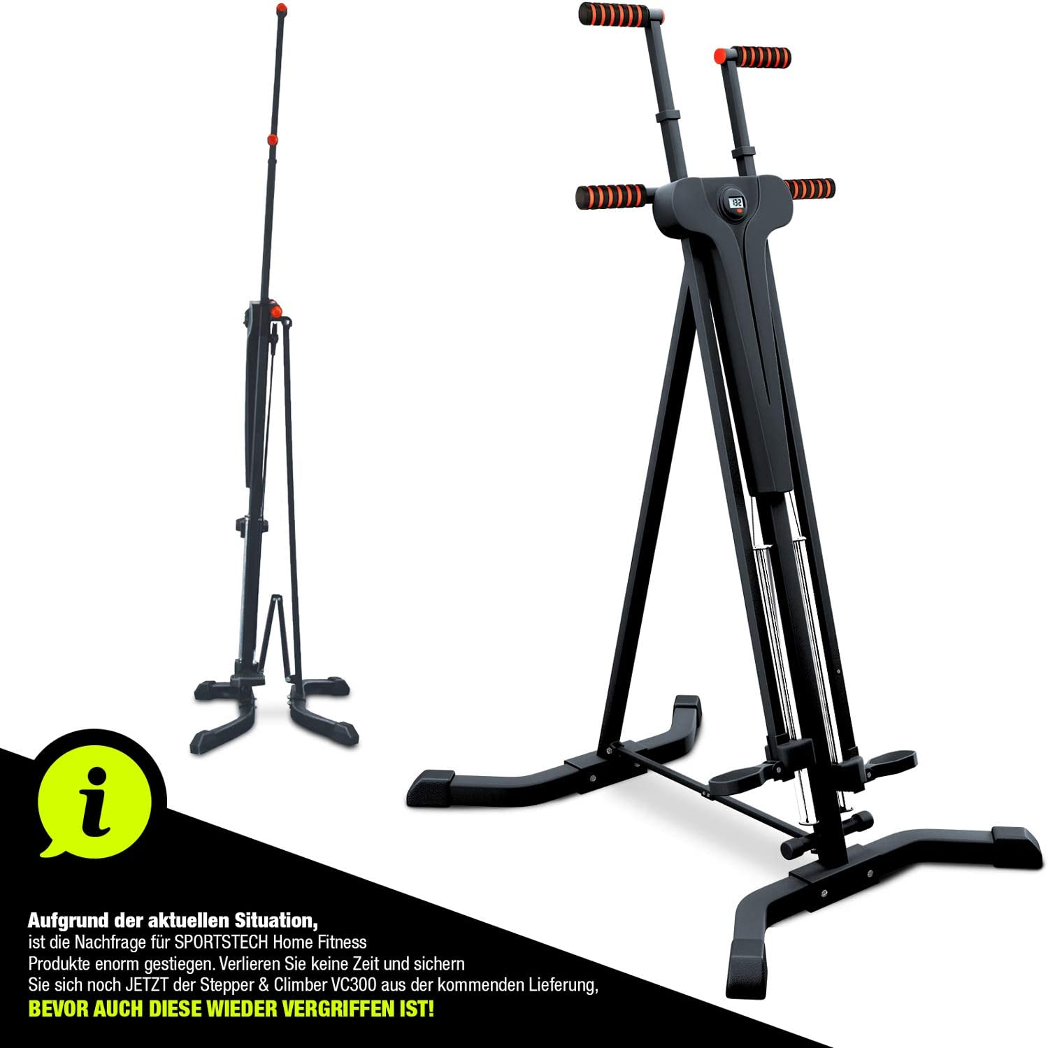 Sportstech innovativer 2in1 Stepper & Vertical Climber Fitness - Klettern - Kletterbewegungen -