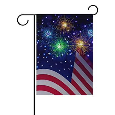 Naanle Independence Day 4th of July Long Polyester Garden Flag 12 X 18 Inches Double Sided, American USA Flag Decorative Yard Flag for Wedding Party Home Decor