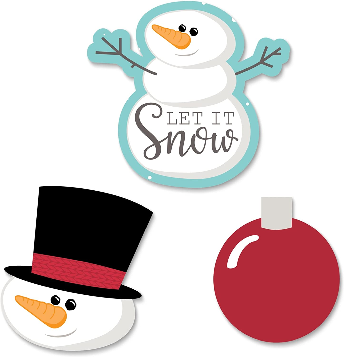 Big Dot of Happiness Let It Snow - Snowman - DIY Shaped Holiday and Christmas Cut-Outs - 24 Count