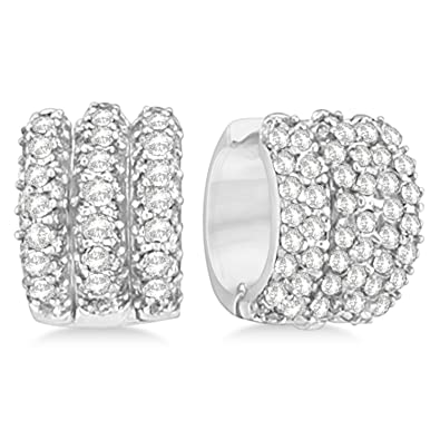 5a5a172cb1d8a Amazon.com: Diamond Cluster Huggie Earrings in 14k White Gold (3.00 ...