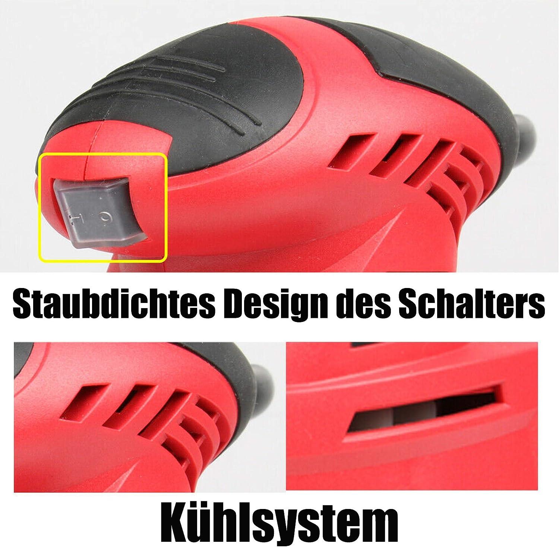 Schleifmaschine Multischleifer 130W DeltaSchleifer 12000RPM mit Staubsammler 2 Meter Stromkabel 6 St/ück Schleifpapier
