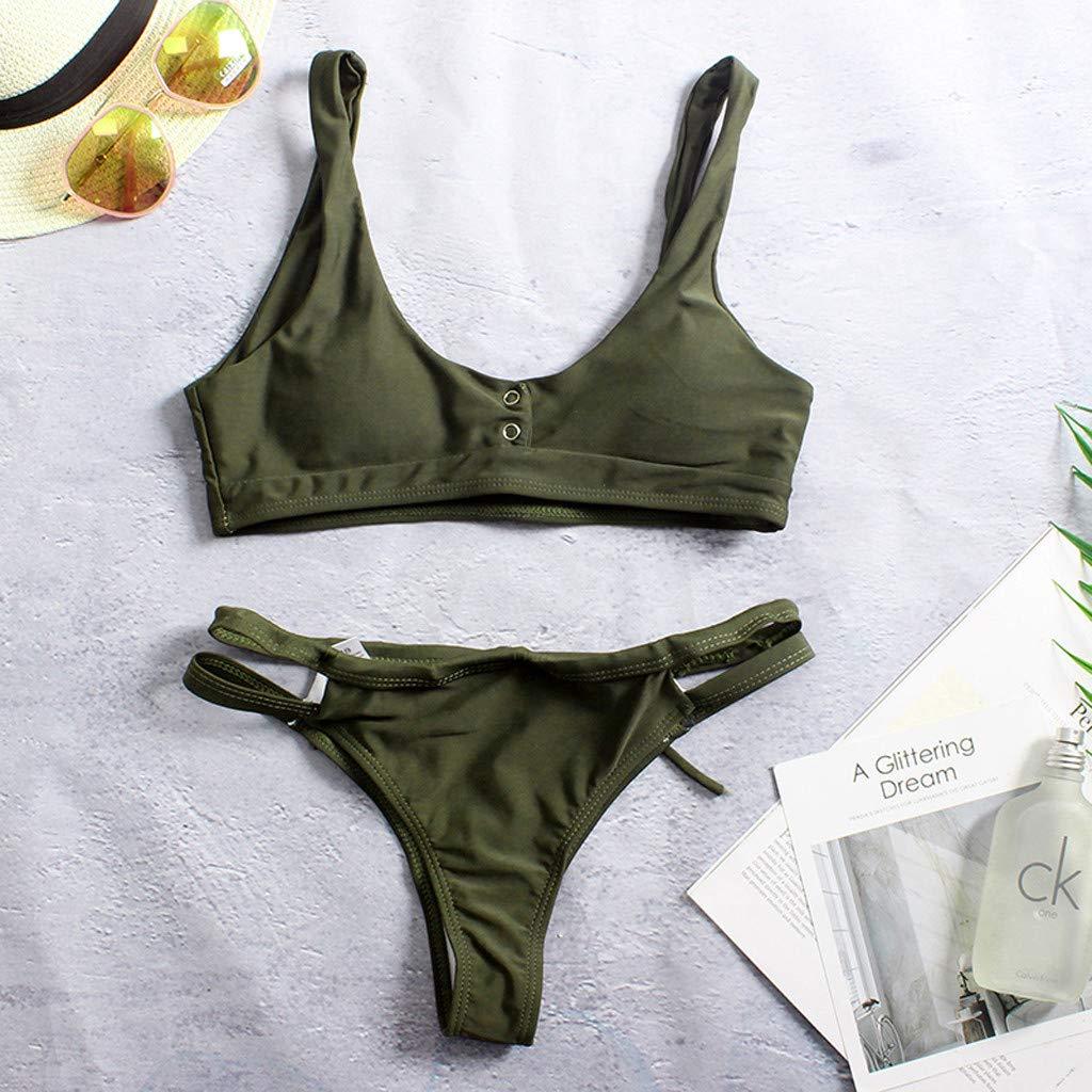 Tops de Bikini Conjunto Las Mujeres Empujan hacia Arriba El Sujetador Adornado Bandeau Bikini de Cintura Baja Traje de Baño Más El Tamaño Sexy Baño ...