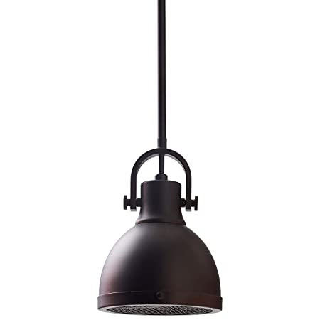 Stone Beam Emmons Industrial Ceiling Pendant Chandelier Fixture With Light Bulb – 6.25 Inch Shade, 11.25 – 59.25 Inch Cord, Oil-Rubbed Bronze