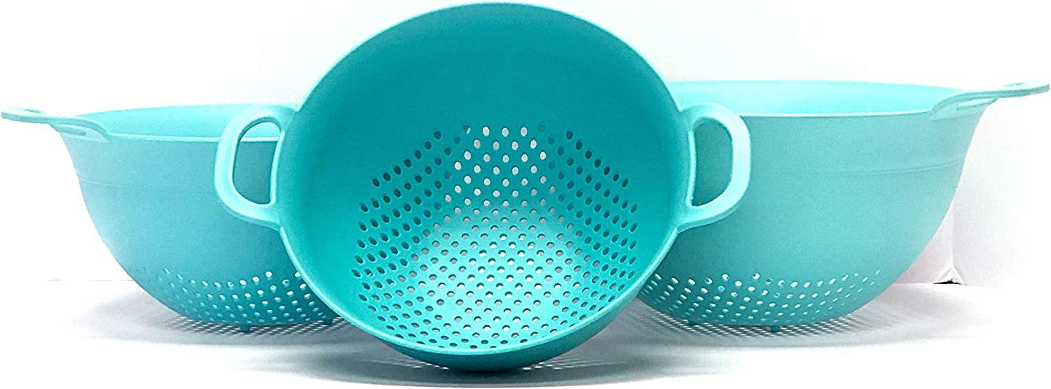 Double Strong Handles and Deep Bowl Safe BPA-Free 3.5 and 5 Quart Teal Noodles Vegetables Spaghetti Mintra Home Plastic Strainer Colanders Set: 3 Use for Pasta Assorted Sizes 3pk