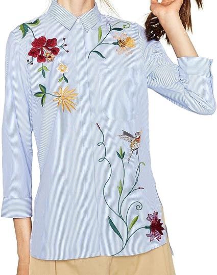 Camisa Mujer, lmmvp femenino rayas de manga larga flor ...