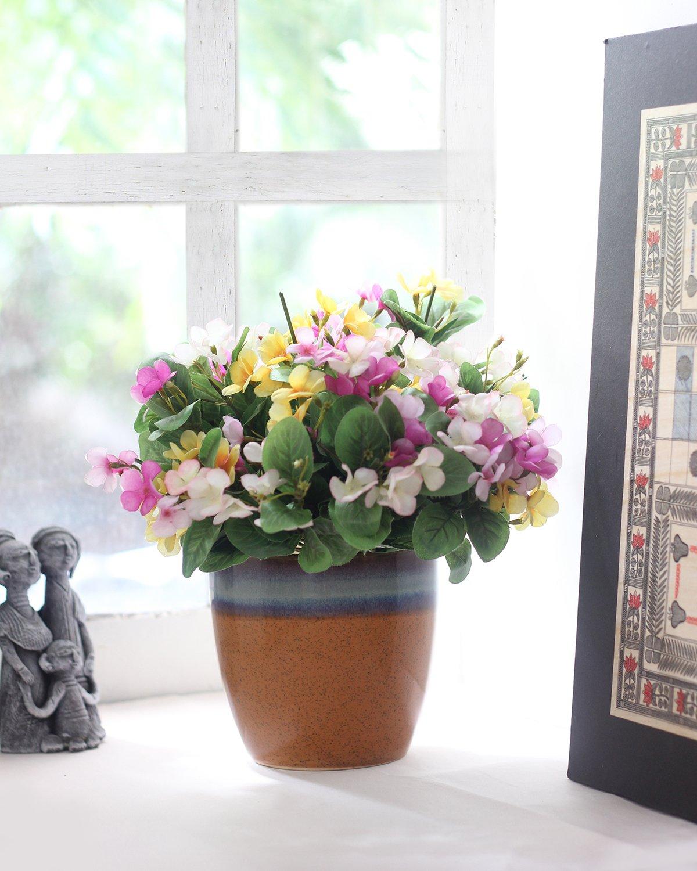 PURPLE CERAMIC FLOWER PLANTER  DESIGN Planter Cover Indoor Outdoor
