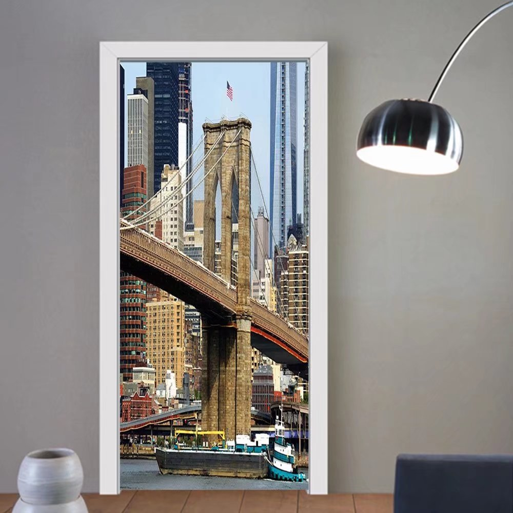 Gzhihine custom made 3d door stickers Urban Skyline of Brooklyn New York USA Cityscape Bridge Buildings and River Coastal Scenery Multicolor For Room Decor 30x79