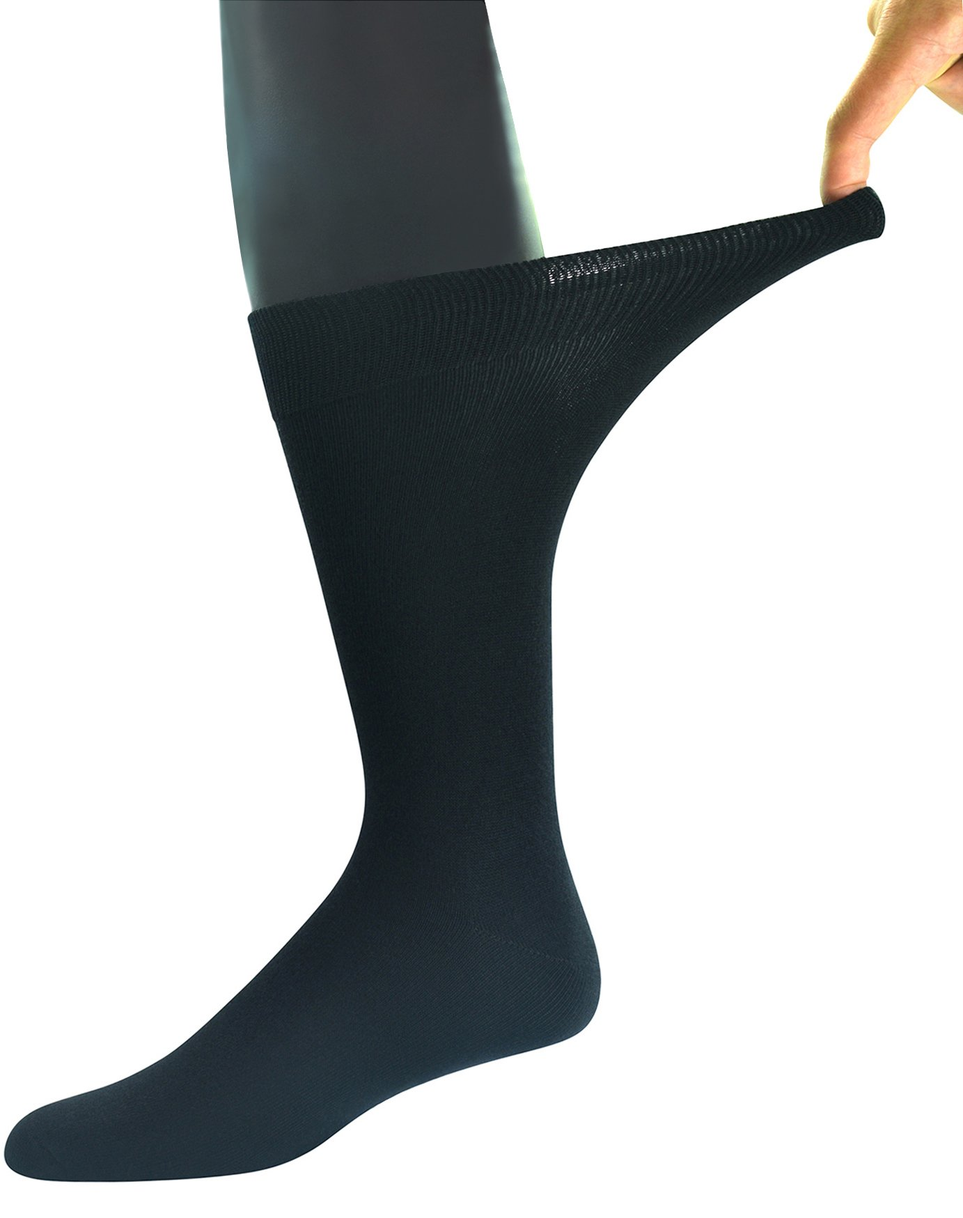 Yomandamor Men's 5 Pairs Bamboo Extra Wide Top Crew Dress Socks by Yomandamor (Image #2)