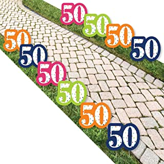 product image for Big Dot of Happiness 50th Birthday - Cheerful Happy Birthday - Lawn Decorations - Outdoor Colorful Fiftieth Birthday Party Yard Decorations - 10 Piece