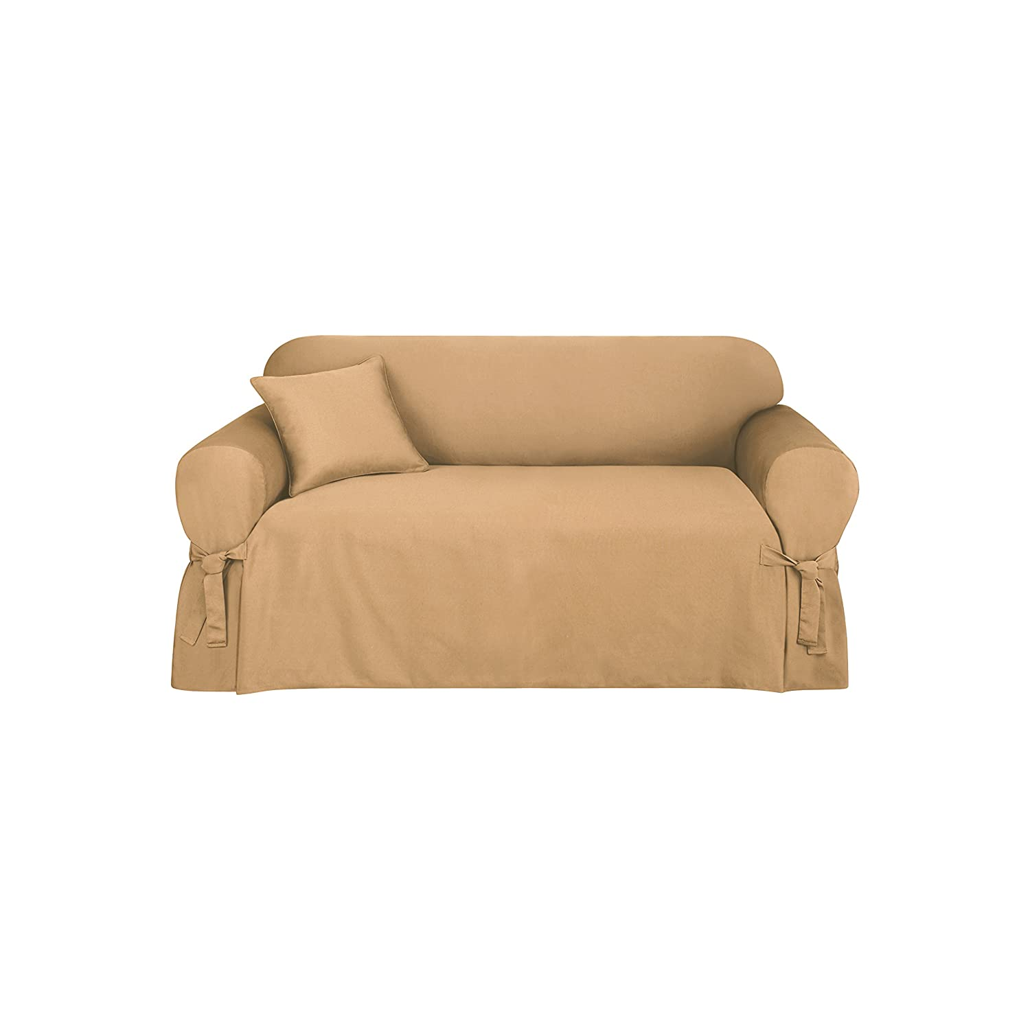 Amazon Sure Fit Logan 1 Piece Ties Loveseat Slipcover Camel