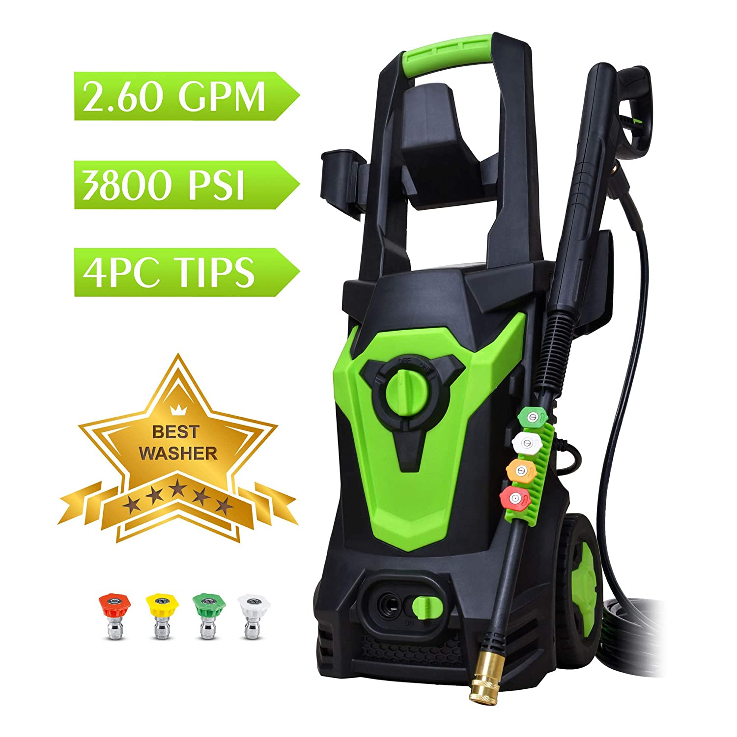 WATTY Electric Pressure Washer-3800PSI,2.6GPM, Long-Term Work Pressure Washer Cleaning Assistant, Helpful Helper for Household Cleaning Tasks
