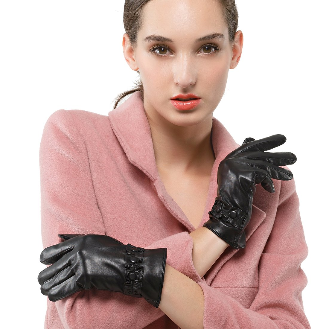 Nappaglo Women's Italian Nappa Leather Gloves Touchscreen Short Warm Gloves with Decorative Wrist Lace (XXL (Palm Girth:8.5''-9''), Black (Touchscreen))
