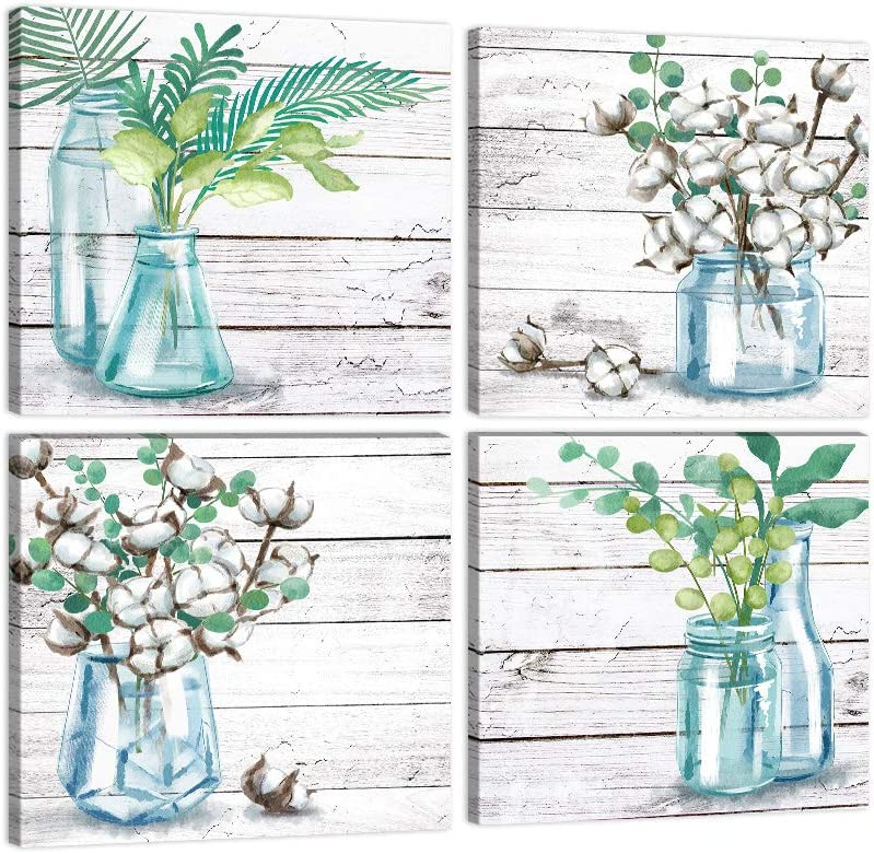 """Flower Painting Farmhouse Wall Art Watercolor Style Wood Texture Plants Print Pictures 4 Panels Floral Wall Decor for Home Office Kitchen Decoration Framed Ready to Hang-12""""x12""""x4"""