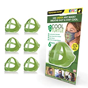 BulbHead As Seen On TV Cool Turtle Enhancer Keep You Cool & Dry All Day Reduce Friction — Face Mask Inner Support Frame Helps You Breathe Easier — Washable & Fits Men and Women, One Size, Green