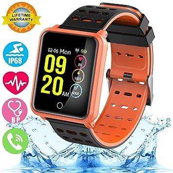 Smartwatch con Frecuencia Cardíaca, Reloj Inteligente con Bluetooth, Impermeable IP68 Reloj con presión Arterial Monitor de sueño Podómetro SMS ...