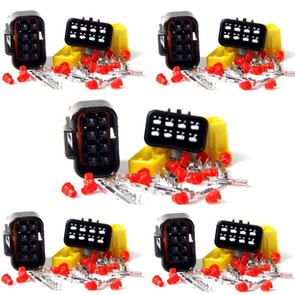 Qiorange Wire Cable Connector Plug in 8 Pins Way Waterproof Electrical Sets Car HID (8Pin 5 Set)