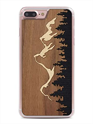 iPhone 7 Plus Grand Teton Inlay Wood Clear Case by Carved, Unique Real Wooden Phone Cover (Clear, Fits Apple iPhone 7 Plus)