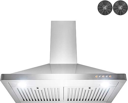 AKDY Wall Mount Range Hood – Stainless-Steel Hood Fan for Kitchen – 3-Speed  Professional Quiet Motor – Premium Push Control Panel – Modern Design – ...