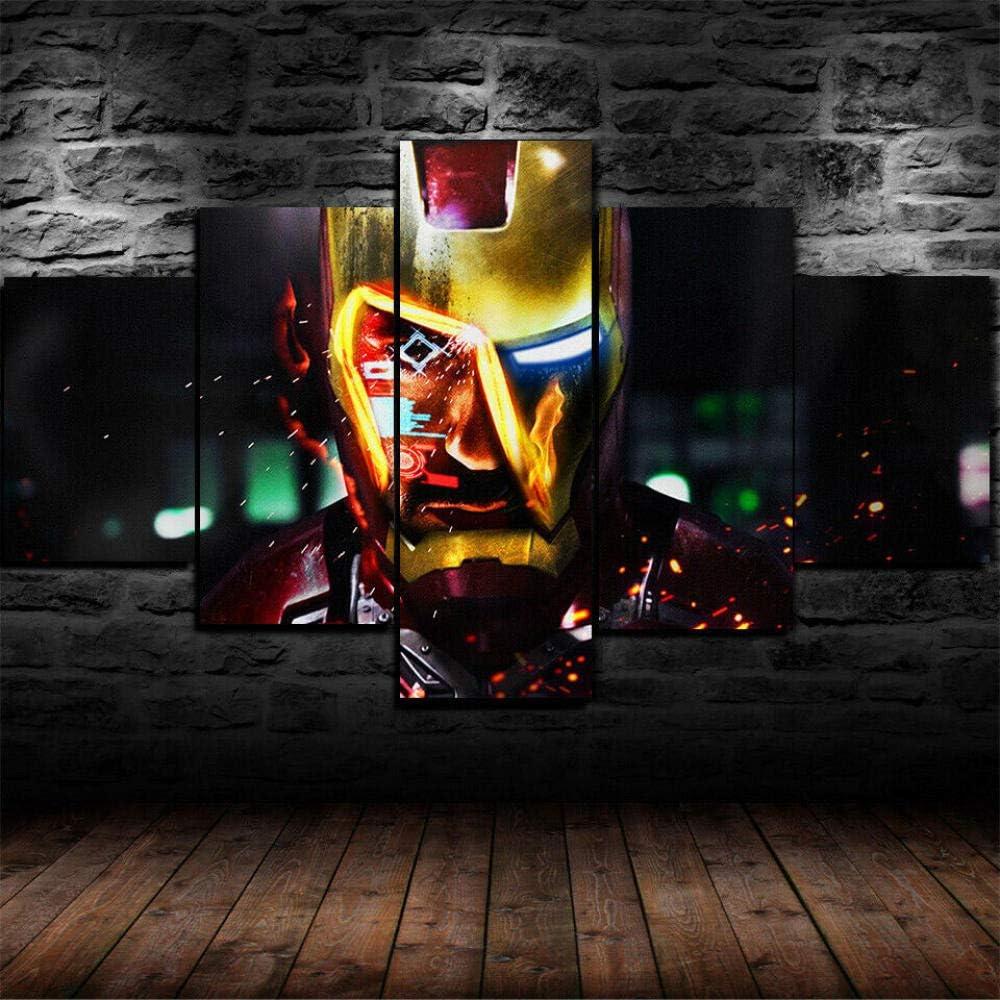 CHENDA Impresiones sobre Lienzo Modular Decoración De Pared Póster 5 Piezas Cuadro Iron Man Marvel Película-200 * 100cm-Marco