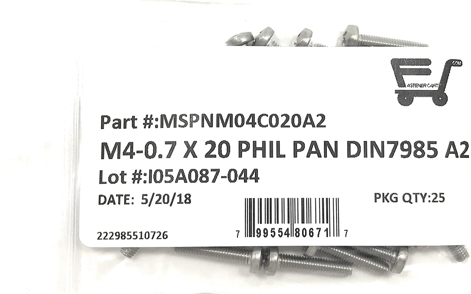 M4-0.7 x20 Stainless Steel COMPATIBLE WITH Phillips Pan Head Machine Screw DIN7985 A2 M4x20 25