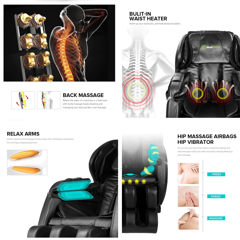 Real Relax Massage Chair Recliner - Full Body Shiatsu, Zero Gravity, Armrest linkage system,with Heater (Black) by Real Relax (Image #5)