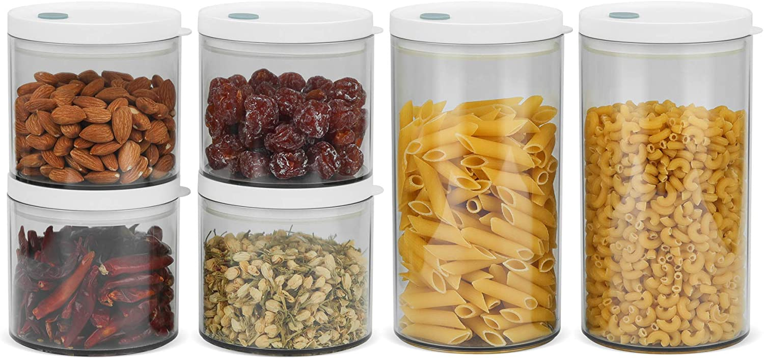 ComSaf Airtight Food Storage Container with Lid(20oz/44oz) Set of 6, Round Airtight Canisters, BPA Free Clear Plastic Food Storage Canister, Kitchen Pantry Container for Sugar, Flour and Cereal