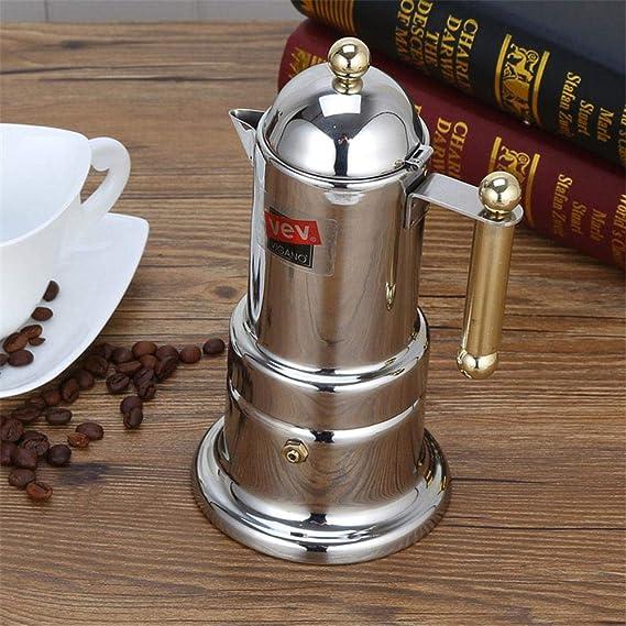 200 ml 4 tazas de café de acero inoxidable cafetera Moka cafetera tetera filtro automático máquina de café máquina de café espresso, plata: Amazon.es: Hogar