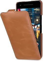 StilGut UltraSlim Case, Custodia Flip Case per Google Pixel 2 Custodia Verticale in Vera Pelle Pregiata, Cognac