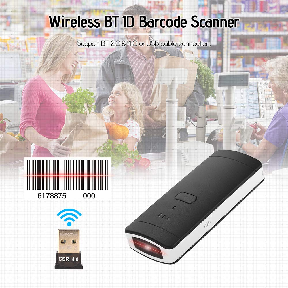Aibecy Portable Mini Wireless Bt Barcode Scanner 1d Phone Cable Wiring Handheld Bar Code Reader With Usb Receiver Support For Windows Xp Win 7 8